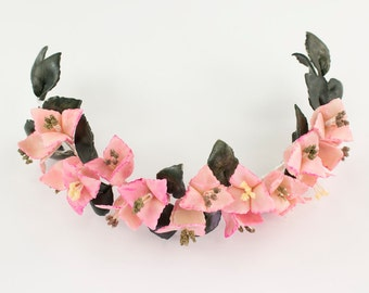 Medium pink Crown with Bougainvilleas