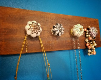 Shabby chic jewelry holder with reclaimed wood