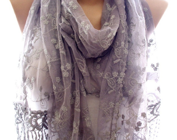Lace scarf, mocha lace scarf,scarves for women, soft scarf, cozy scarf, trendy scarf, scarves, gift for her, accessories, summer scarf