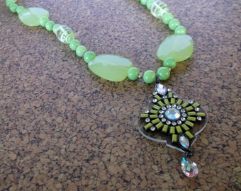 Lime Green and Crystal Pendant and Beaded Necklace, Neon Green Necklace with Pendant