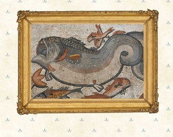 Fish art, Roman Mosaic, Decor Print Roman ,Bathroom wall decor, Giclee Fine Art Print, Water Resistant Paper or Canvas