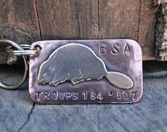 Key Chain, key fob, key holder, key hook, Copper and Brass Soldered Beaver Custom Key Chain