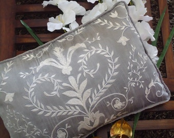 "Gray Embroidered Floral Pattern Cushion Cover,Decorative Pillow, Standard Size 12"" x 18"", CC00056"