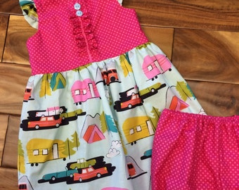 Camping themed summer dress with matching diaper cover