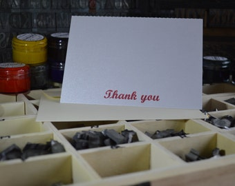 Letterpress Thank You Cards | Thank You Notes - box of 10 folded cards with envelopes