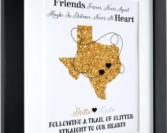 Best friends distance, customized sister gift, 1st anniversary, long distance girlfriend, map wall art, going away gift, unique gift, bff