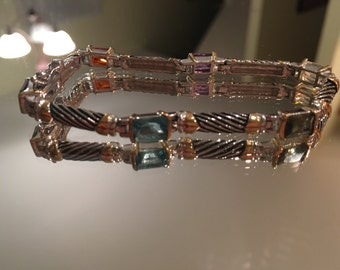 Gorgeous Silver & Gold Bracelet with Gemstones