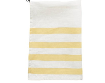 Pondicherry linen tea-towel, mustard on white