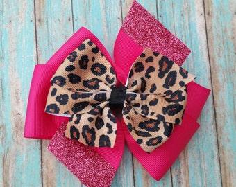 Hot pink cheetah bow, cheetah pinwheel bow, hair bow,