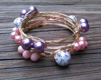 Spring Pop  Wire Wrapped Bangles