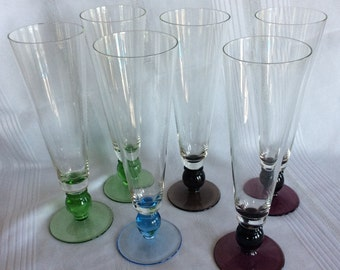 Vintage Retro 6 beer champagne flute Ginger Ale stem ware Ice cream glass ware