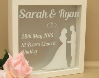Personalised Wedding Silhouette Box Frame - White