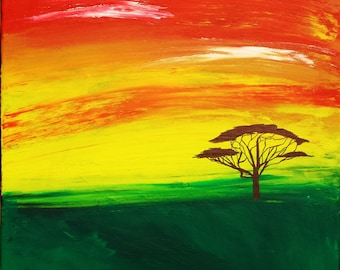 """Original Art - """"Sunset on the Savannah"""" by Savannah Osufsen 16x20"""
