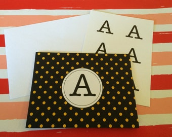 6 A Initial Monogram Mod Yellow Black Polka Dot Notecards