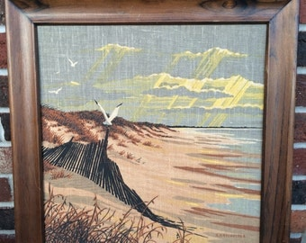 Vintage R. Batchelder Sea Shore Picture and Frame
