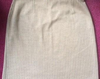 Vintage Mod C & A Pinstripe Skirt Elasticated Waist