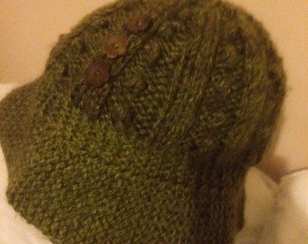 Knitted Green & Brown Cloche Style Hat