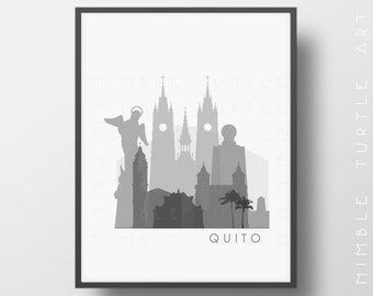 Quito Ecuador Skyline Printable Download  -  Black and White  -  Grayscale - Quito Gallery Wall Art
