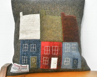 Hand crafted Harris Tweed Town House Design cushion cover.