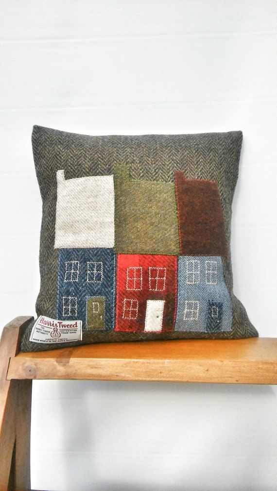 Hand crafted Harris Tweed Town House Design cushion cover