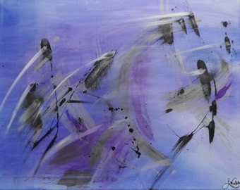 Original Abstract Painting, Acrylic Abstract Painting, Unique Painting, Stretched Canvas, 40x50cm, Blue, Purple, Black, White, Silver