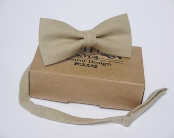 Beige Linen Bow Tie, Tie For Wedding / Groomsmen bow tie / Men's bow tie / Boy's / Toddler's / Beige linen bow tie, Beige Pocket square