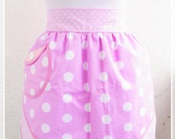 Pink polka-dots apron Retro half apron Womens aprons Vintage apron Pin up Apron Kitchen decor Gift for woman