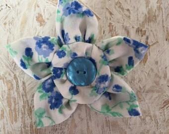 Flower Brooch,Fabric Brooch,Fabric Flower Brooch,Brooch,Handmade,Blue Green & White