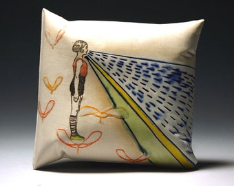 GiRL with helicopters (porcelain wall pillow)