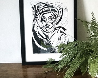 Woman in black, linocut print, original art