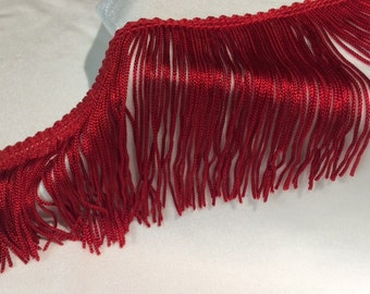 Red Chainette Fringe- By the Yard