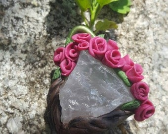 Rose bud quartz necklace