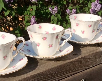 Pretty in Pink-Crown Staffordshire Pink Roses on White Teacup and Saucer