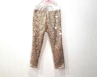 Gold sequin pants, girls sequin pants, sparkle leggings, gold pants, sparkle pants, girls birthday pants, birthday clothing, sequin pants