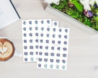 Violet watercolor date planner stickers printable