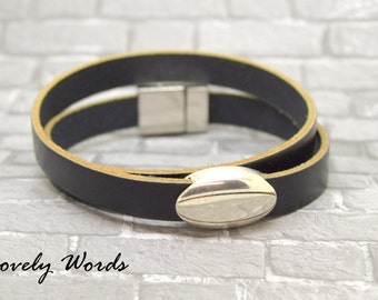 man rugby ball black leather bracelet