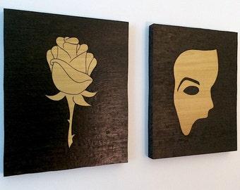 Phantom of the Opera, Phantom Mask and Christine's Rose, Set of Two, Woodburned Art, Phantom wall hanging