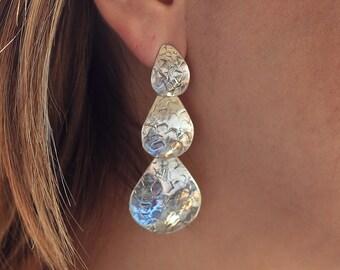 Teardrop, sterling silver earrings with texture
