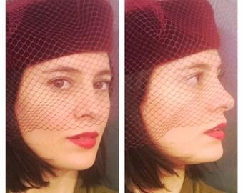 Velvet hat with veil