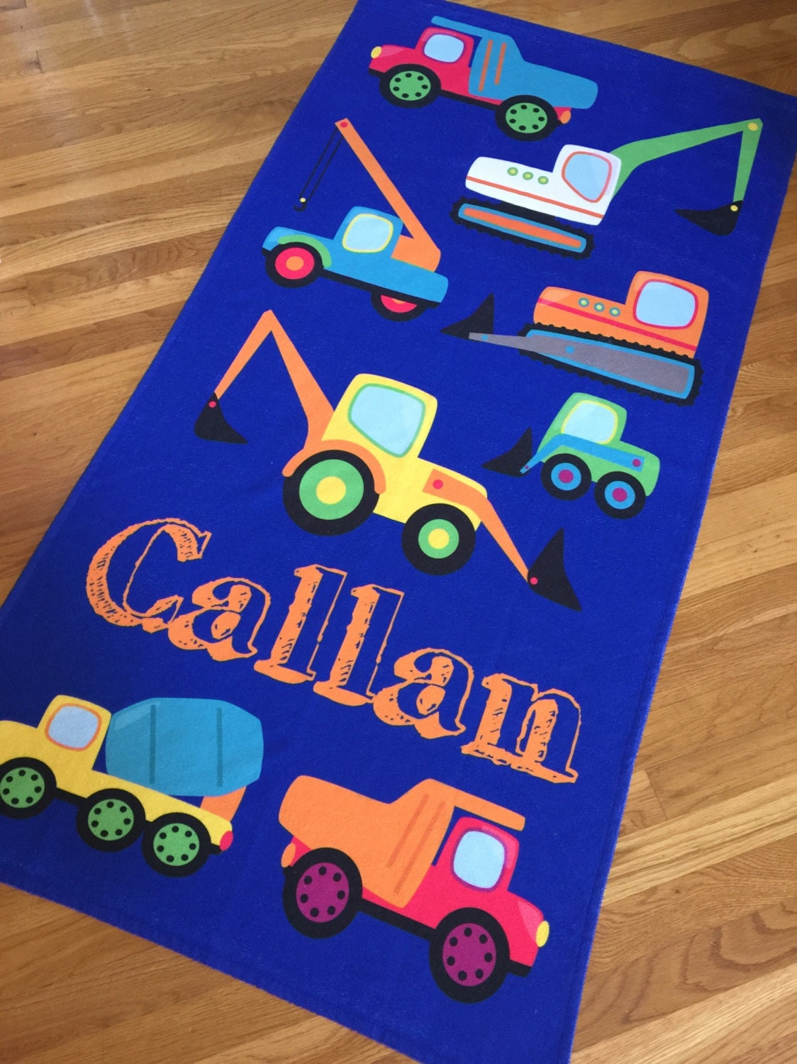 Construction Trucks Beach Towel