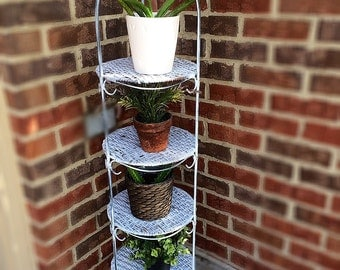 Beautiful Vintage /Rustic Shabby Chippy Tall Iron Wicker 4 Tier Plant Stand