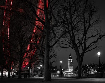 Big Ben,London Eye,printable,download,black and white,red,river thames,skyline,photography,instant,high resolution,digital,picture,night