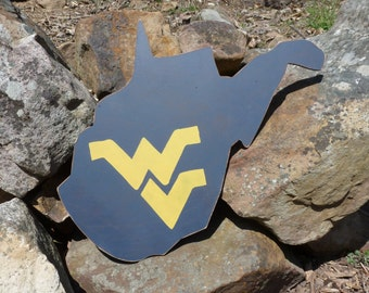 West Virginia State Shaped Sign, WVU, Mountaineers