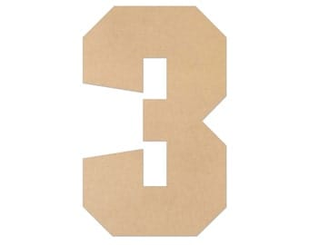 """1"""" - 34"""" Wooden Number 3, Nursery, Kids Room, Wedding Decoration, Large or Small, Ornaments, DIY, Unfinished Wood, Door Wall Hanger # 2076"""