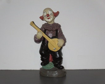 Vintage Clown Statue with Banjo Circus Carnival Decoration