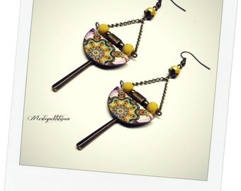 mandala earrings pink and yellow
