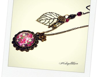 Necklace pink fuchsia flower cabochon