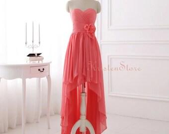High Low Prom Dress Etsy