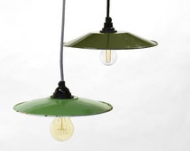 Vintage industrial enameled pendant metal lamp. Dark or light green. Refurbished with new textile cable and socket.