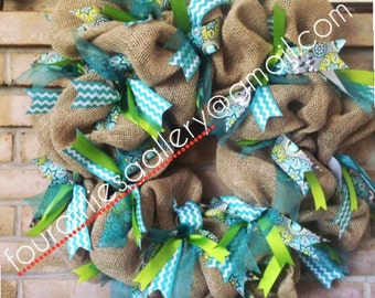 Turquoise and Lime Chevron